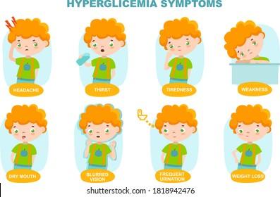Hypoglycemia symptoms. Little  curly boy. Diabetes infographic. Vector