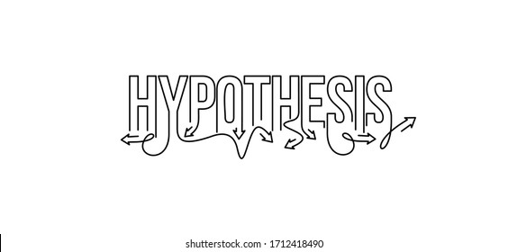 Hypothesis Calligraphic line art Text shopping poster vector illustration Design.