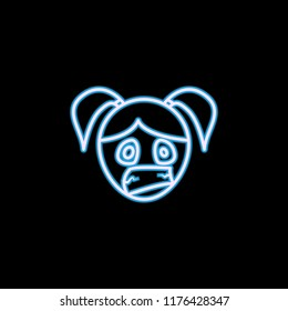 hysterical girl face icon in neon style. One of emotions collection icon can be used for UI, UX on black background