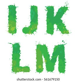 I, J, K, L, M, Handdrawn english alphabet - letters are made of green watercolor, ink splatter, paint splash font. Isolated on white background.