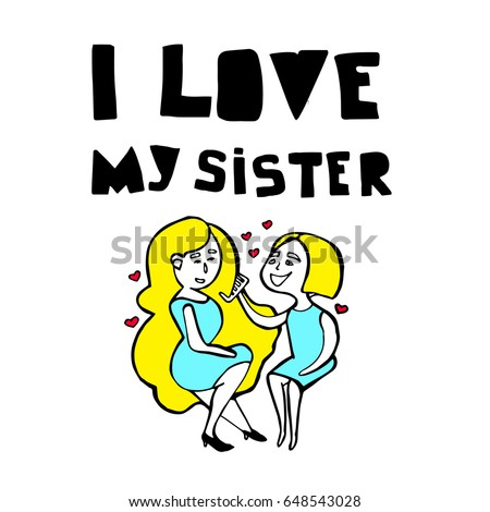 I Love My Sister Illustration Simple Stock Vector Royalty Free