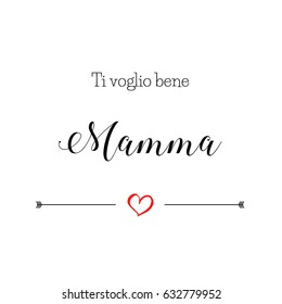 """""""I Love you mom"""" postcard in italian language for Mother's Day, vector illustration"""