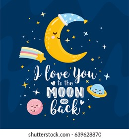 """I love You to the Moon and back"" greeting card. Magic illustration with moon and different elements of space. Stars, space, rainbow, planets."