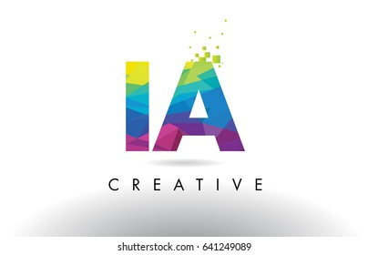 IA I A Colorful Letter Design with Creative Origami Triangles Rainbow Vector.