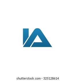 IA company linked letter logo blue