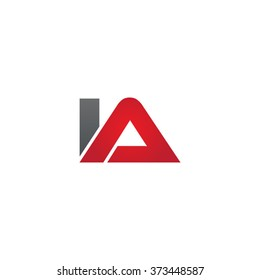 IA company linked letter logo black red