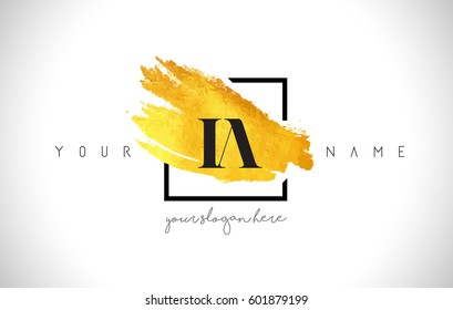 IA Golden Letter Logo Design with Creative Gold Brush Stroke and Black Frame.