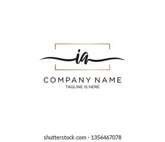 IA handwriting initial  logo vector
