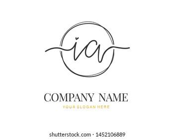 I A IA Initial handwriting logo design with circle. Beautyful design handwritten logo for fashion, team, wedding, luxury logo.