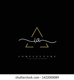 IA initial handwriting logo template vector
