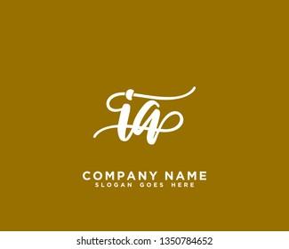 IA Initial Handwriting Logo Vector