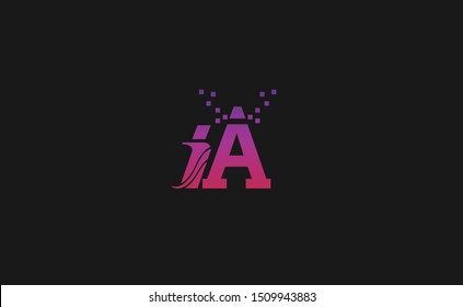 IA Letter Logo Design with Creative Modern Trendy Typography