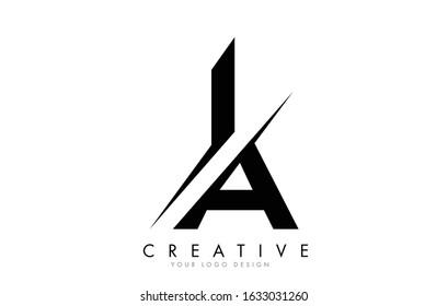 IA I A Letter Logo Design with a Creative Cut. Creative logo design..