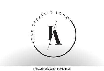 IA Letter Logo Design with Creative Intersected and Cutted Serif Font.