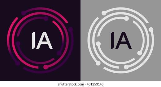 IA letters business logo icon design