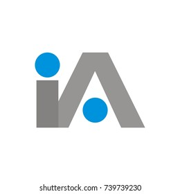 IA logo initial letter design template vector
