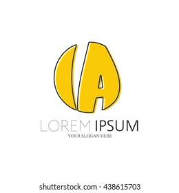 IA Logo. Vector Graphic Sphere Branding Letter Element. White Background