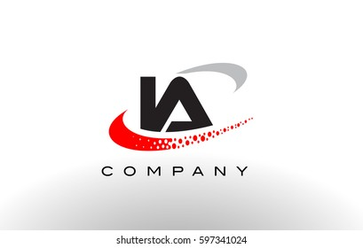 IA Modern Letter Logo Design with Creative Red Dotted Swoosh Vector