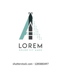 IA modern logo design with gray and blue color that can be used for creative industries and paper printing. AI logo is filled with bubbles and dots, can be applied in the background and wallpaper