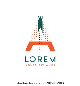 IA modern logo design with orange and green color that can be used for creative business and advertising. AI logo is filled with bubbles and dots, can be used for all areas of the company