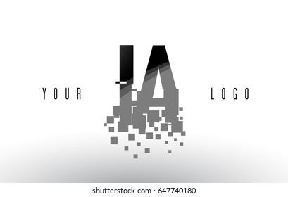 IA I A Pixel Letter Logo with Digital Shattered Black Squares. Creative Letters Vector Illustration.