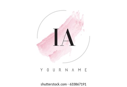 IA I A Watercolor Letter Logo Design with Circular Shape and Pastel Pink Brush.
