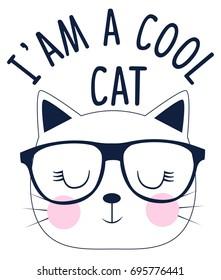 I'am a cool cat slogan and face cat vector.