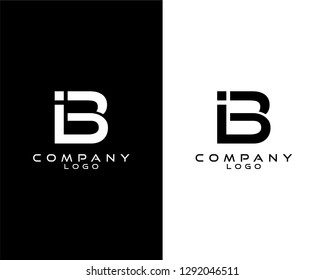 ib/bi modern logo design with white and black color that can be used for business company.