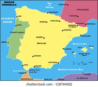 Iberian Peninsula Map Images Stock Photos Vectors Shutterstock