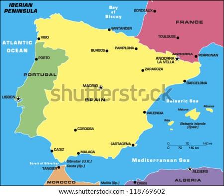 Iberian Peninsula Stock Vector (Royalty Free) 118769602 - Shutterstock