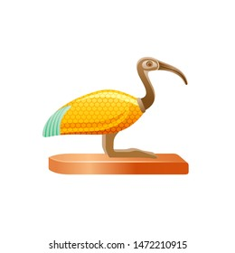 Ibis bird, ancient Egyptian god Thoth symbol. Deity of wisdom, writing, hieroglyph, science. Golden decorated wing. 3d cartoon vector illustration. Old art icon from Egypt isolated on white background