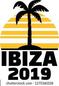 Ibiza 2019 with palm tree and sunset