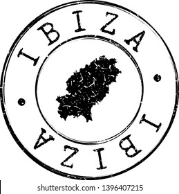 Ibiza Spain Map. Silhouette Postal Passport Stamp. Round Vector Icon Postmark.