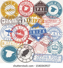 Ibiza Spain Set of Stamps. Travel Stamp. Made In Product. Design Seals Old Style Insignia.