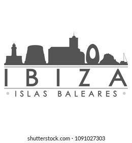 Ibiza Spain Skyline Silhouette Design City Vector Art Famous Buildings