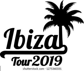 Ibiza tour 2019 with palm tree black