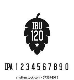 IBU index logo. Hop pine black silhouette with bitterness mark abbreviation.