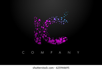 IC I C Letter Logo with Purple Blue Particles and Bubble Dots Design Vector.