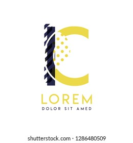 IC simple logo design with yellow and purple color that can be used for creative business and advertising. CI logo is filled with bubbles and dots, can be used for all areas of the company