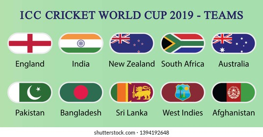 ICC Cricket world cup 2019-Teams. Ten countries flags drawing by illustration