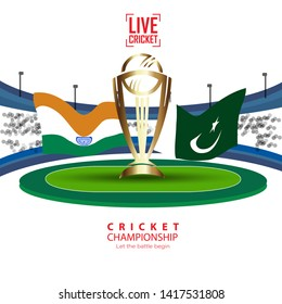 ICC world cup - Cricket stadium background with flag and trophy. Vector wallpaper design. - Vector