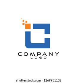 ic/ci tech/ict/it logo design vector