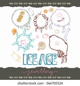 Ice Age jewelry linear set set