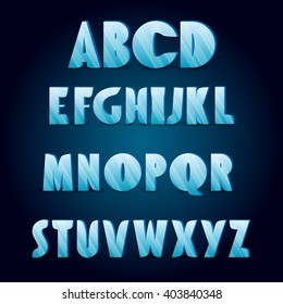 Ice alphabet. Collection of ice letters for your design