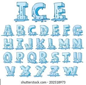 Ice alphabet melting down, vector.