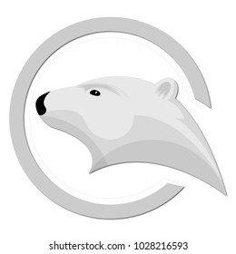 Ice bear logo template. White polar bear head in an open circle