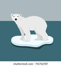 ice bear on floe climate change catastrophe melting ice vector flat design
