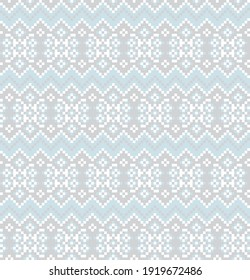 Ice Blue Christmas fair isle pattern background for fashion textiles, knitwear and graphics