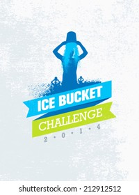 Ice Bucket Challenge Charity Activity. Creative Vector Design Element.