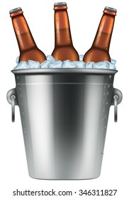 Ice bucket with three bottles of beer. Photo-realistic vector illustration.
